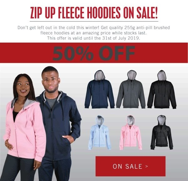 Zip Up Fleece Hoodies | On Sale